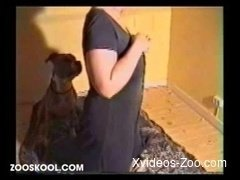 Babe in black dress gets her pussy licked by trained beast